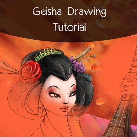 how to draw a geisha step by step