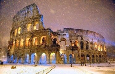 rome photography snowy roma coliseo