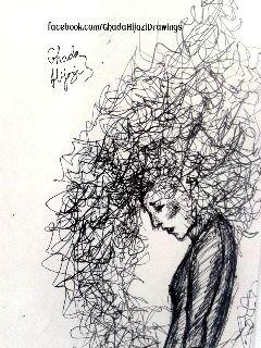 drawing black & white art pen sketch