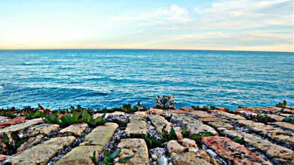 colorful photography sea brick sunset