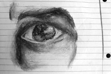 black & white people pencil art eye study