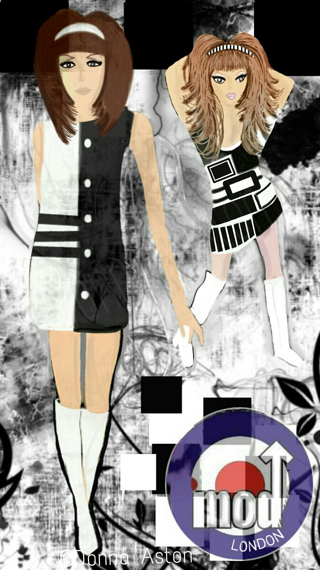 """#dcfashionsketch, Top Ten - 3rd Place Drawn and Painted in PicsArt on a 4"""" screen smartphone. Not just a fashion, not just music ...MOD (short for Modernist), was a way of life in the 1960s for British youth, looking to break free from the strictness of the 50s generation. Associated with Mods- Black and white, two tone colours, bold geometric patterned clothing, stripes, polka dots, headbands, sunglasses, bold jewellery,  fishtail parkas, trilbys, suits, The Who, The Kinks, scooters....., the arch enemy the Rockers and British film, Quadrophenia. #fashion #drawing #art #retro #dcfashionsketch"""