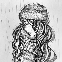 drawing black & white art sketch winter