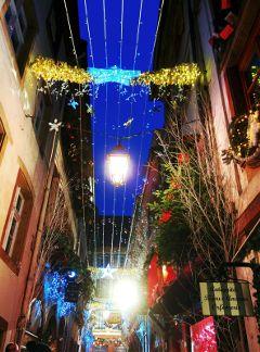 street christmas light winter strasbourg